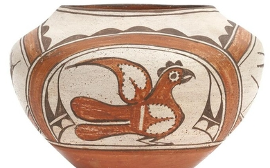 Zia Polychrome Pottery Vessel Olla with 4 Birds
