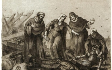 19th century French Charcoal Drawing Grieving Mother