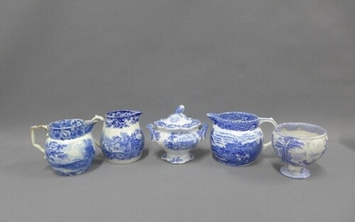 19th century Staffordshire blue and white transfer printed p...