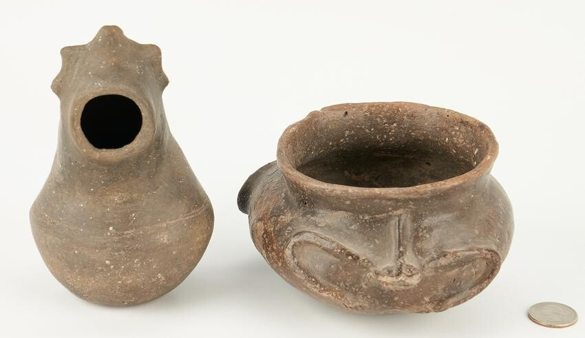 2 Mississippian Culture Caddo Effigy Pottery Items