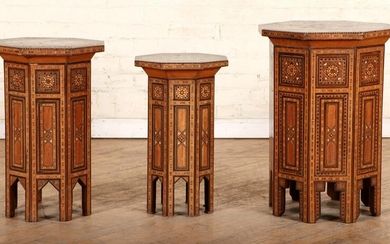 3 GRADUATING SIZED SYRIAN STYLE END TABLES