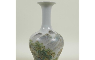 A Chinese Republic porcelain vase with famille verte mountai...