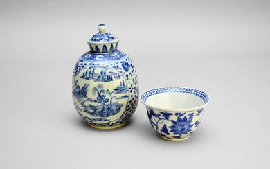 A Chinese blue and white vase and cover and a small bowl