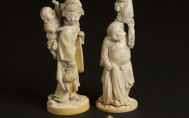 A Group of Four Japanese Ivory Carvings, Meiji Period