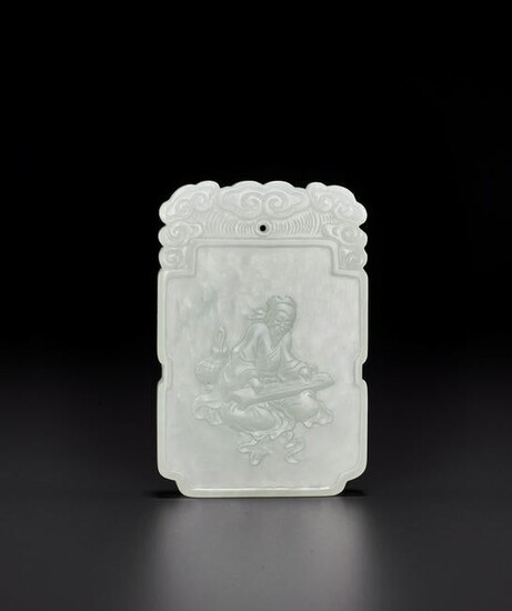 A JADE 'IMMORTAL PLAYING THE QIN' PLAQUE, QING