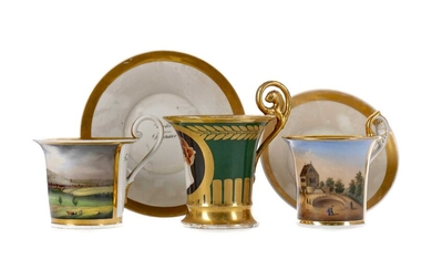 A LATE 19TH CENTURY PARIS PORCELAIN CABINET CUP, ALONG WITH THREE OTHERS