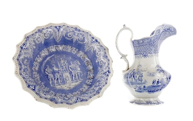 A MID-VICTORIAN STAFFORDSHIRE BLUE & WHITE EARTHENWARE WASH BASIN AND EWER