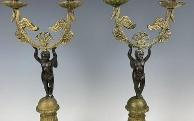 A PAIR OF EMPIRE STYLE BRONZE CANDELABRA