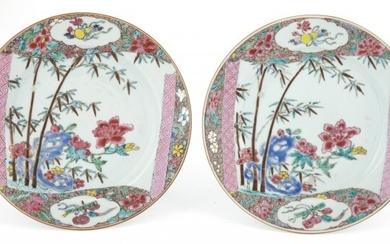 A Pair of Chinese Export Enameled Porcelain Plates