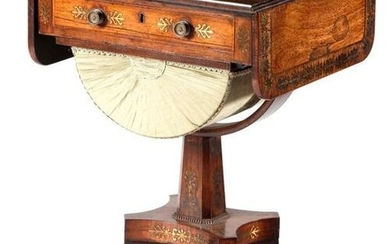 ? A REGENCY ROSEWOOD AND BRASS MARQUETRY WORK TABLE C.1815-20...