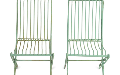 A Set of Four Green Painted Wrought Iron Folding Chairs and Two Folding Metal Armchairs