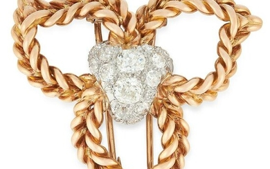 A VINTAGE DIAMOND BROOCH, STERLE in 18ct yellow gold