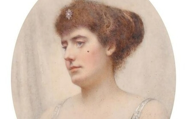 A Victorian oval portrait miniature of a Lady wearing a