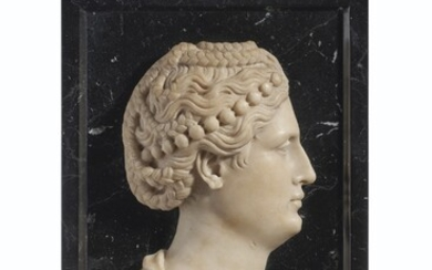 A WHITE MARBLE PROFILE RELIEF PROBABLY OF FAUSTINA THE ELDER