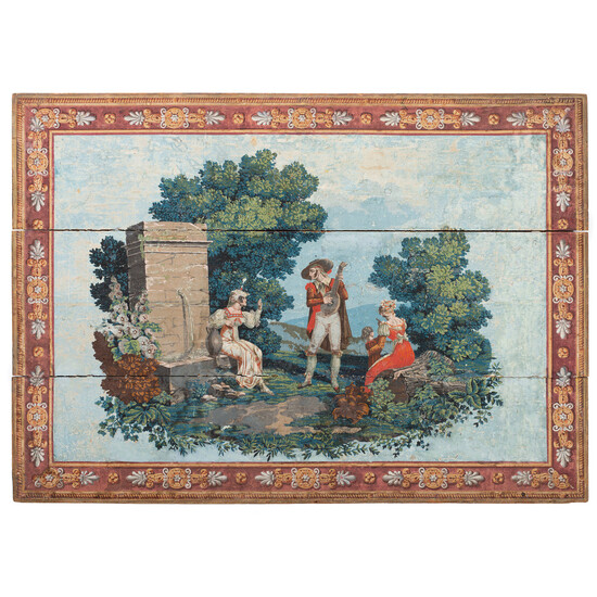 A Zuber & Cie Hand-Painted Scenic Wallpaper Panel Mounted on Wood