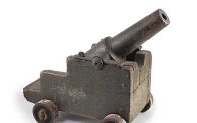 A cast iron starting cannon, probably 18th/19th century, on ...