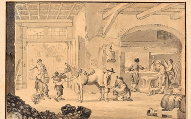 A horse smith. Ca. 1750-1800 Drawing, pen and black ink, grey and brown wash, 11,3...