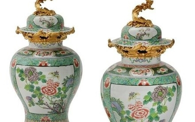 A pair of Chinese Famille Verte baluster vases