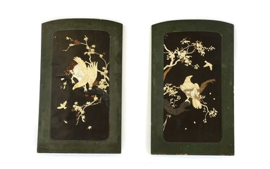 A pair of early 20th century green and black lacquer and shibyama panels