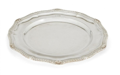 A set of twelve silver plates, Sheffield, c.1966, CJ Vander, of shaped, circular form, each designed with gadroon and shell border, 29.5cm dia., total weight approx. 263oz (12)