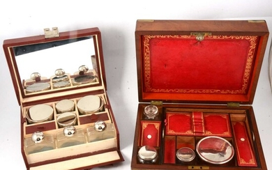 A walnut writing box and lady's travelling toilet set, both with fitted interiors.