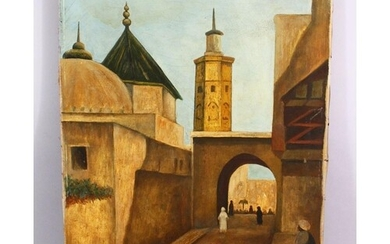 AN EARLY 20TH CENTURY ORIENTALIST OIL PAINTING OF NORTH AFRI...