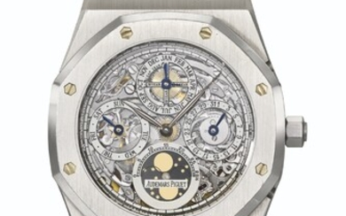 AUDEMARS PIGUET. A RARE AND HIGHLY ATTRACTIVE PLATINUM SKELETONIZED PERPETUAL CALENDAR AUTOMATIC WRISTWATCH WITH MOON PHASES, LEAP YEAR INDICATION AND BRACELET
