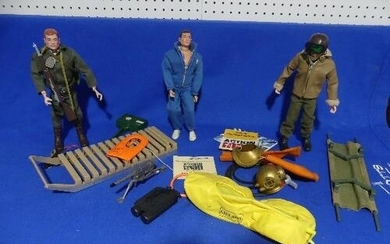 Action Man; three vintage man dolls with various uniforms a...