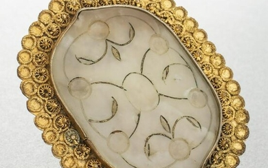 Antique Chinese Carved Nephrite Jade Brooch