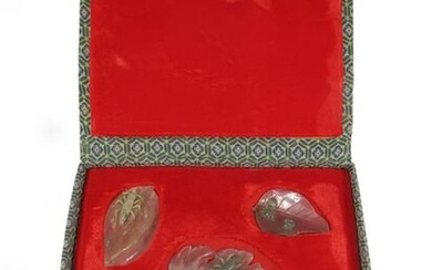 Antique set of 5 jade sculptures in a box, signed