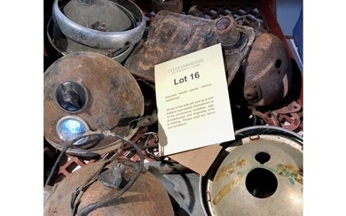 Assorted Velocette spares: Various headlamps and items