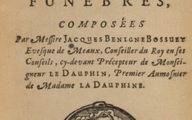 BOSSUET (Jacques Bénigne). Recueil d'oraisons funèbres. In Paris, by the Vve de S. Mabre-Cramoisy, 1689. In-12, [2] f., 562 p., [1] f. (privil.), [1 (of 2)] blank f., polished cherry morocco, spine with 5 nerves, author, title and date gilt...