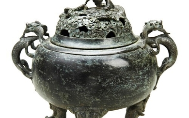 BRONZE TRIPOD 'DRAGON' CENSER AND COVER QING DYNASTY the dom...