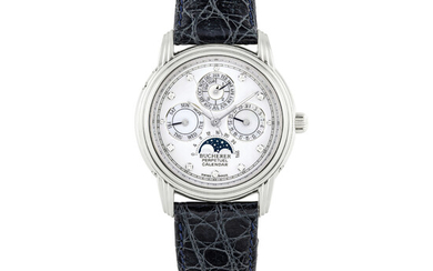 BUCHERER, PLATINUM, DIAMOND-SET AND MOTHER OF PEARL, PERPETUAL CALENDAR WITH MOONPHASES