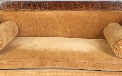 Biedermeier sofa inlaid with sycamore and yew wood, decorated with...