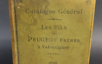 Peugeot catalogue for the year 1899 of various materials including many coffee grinders. Green percaline cover. Spine and covers faded.