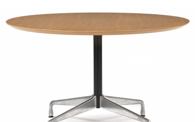 Charles Eames, Ray Eames: Circular dining table with black lacquered frame and chromed metal base....
