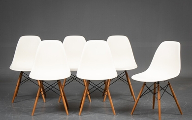 Charles Eames for Vitra. A set of six chairs white/maple