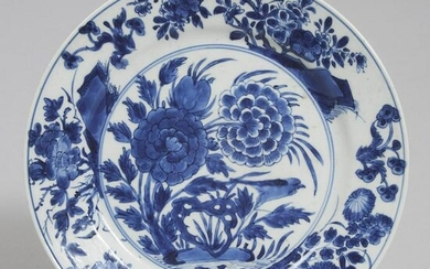 Chinese Blue and White Garden Landscape Plate, 18th