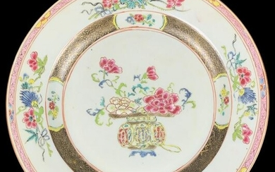 Chinese Famille Rose Painted Porcelain Plate