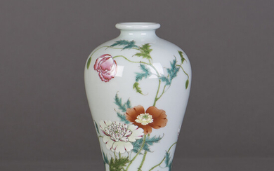 Chinese Famille Rose 'butterfly and flower' vase