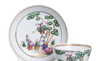 Chinese porcelain 'Cherry picking' teacup & saucer