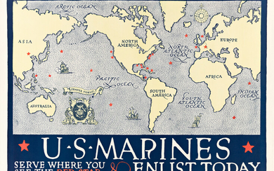 DESIGNER UNKNOWN US MARINES SERVE WHERE YOU SEE THE RED ST