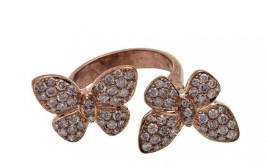 Diamond and Pink Diamond Butterfly Ring