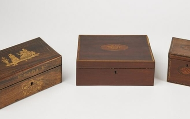 Early Inlaid Tea Caddy and Desk Box