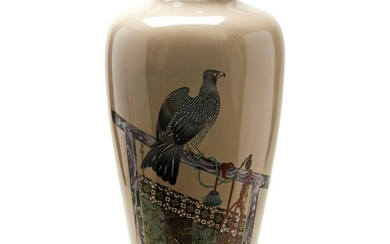 FINE AND LARGE JAPANESE CLOISONNE ENAMEL VASE, ATTRIBUTED TO...