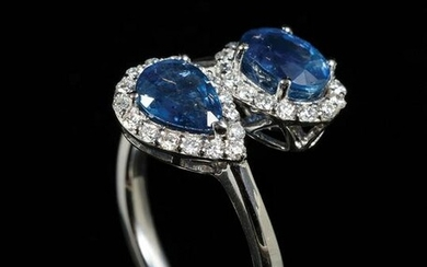 Gold, Blue Sapphire and Diamond Ring