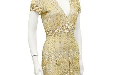 Gold Sequin, Embroidered and Beaded Cocktail Dress