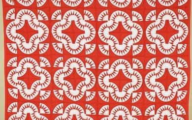 """Graphic Red & White """"Mohawk Trail"""" Quilt"""