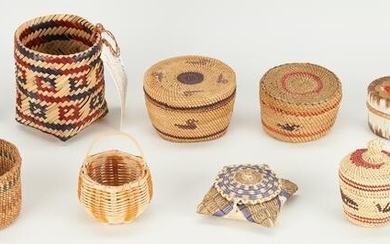Group of 12 Native American Miniature Baskets & Quill